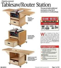 Woodworking For Kids Quick Convert Tablesaw Router Station Woodworking Plan - WoodworkersWorkshop Woodworking For Kids, Woodworking Guide, Woodworking Classes, Popular Woodworking, Woodworking Furniture, Custom Woodworking, Woodworking Projects Plans, Woodworking Chisels, Woodworking Garage