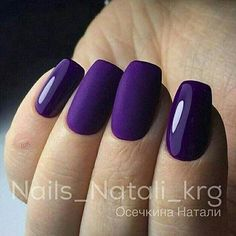 Short square nails with purple gel polish and matte top coat. Beautiful nails by ✨Ugly Duckling Nails page is dedicated to promoting quality, inspirational nails created by International Nail Artists Fabulous Nails, Gorgeous Nails, Love Nails, Pretty Nails, Ongles Gel Violet, Nail Manicure, Nail Polish, Manicure Ideas, Nagel Hacks