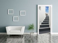 Poster de porte Vers la terrasse Trompe l'oeil escalier vendu par Scenolia (59€)