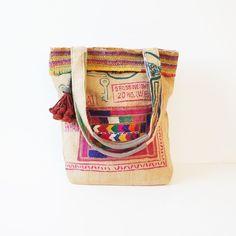 Vintage burlap recycled rice bag tote