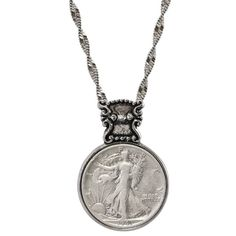 American Coin Treasures Silvertone Year To Remember Victorian-style Half Dollar Coin Necklace (1962), Women's, Size: 28 Inch, White