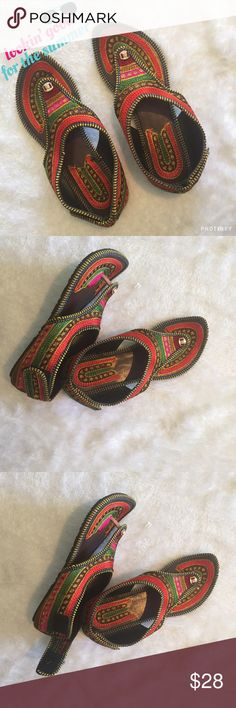 Indian beach flats Colorful handmade Indian shoes with multicolor embroidery . Best for beach or a sunny day . Size in Indian shoes varies from USA but size mentioned in the listing is based on USA sizing. Please ask any Q before u buy . Price is firm unless bundled . Shoes Flats & Loafers