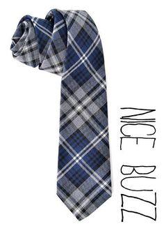 Wool Plaid blue neck tie Men ties preppy style Men by nicebuzz, 40.00