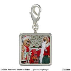 Golden Retriever Santa and Mrs. Claus Charms