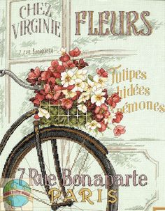 Bicycle with flowers poster  Parisian Bicycle and flower cross stitch - I love to cross stitch when I have the concentration span to be able to do it.