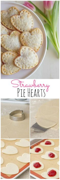 Mini heart shaped hand pies filled with strawberry preserves and sprinkled with sparkling sugar.