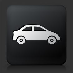 Black Square Button with Car vector art illustration