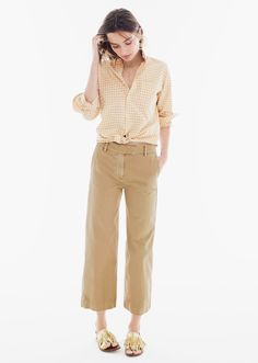 J.Crew How to Give Your Chino Personality Classic khaki, six new silhouettes. Just add accessories—or not. - the wide-leg Rayner chino #howtowear
