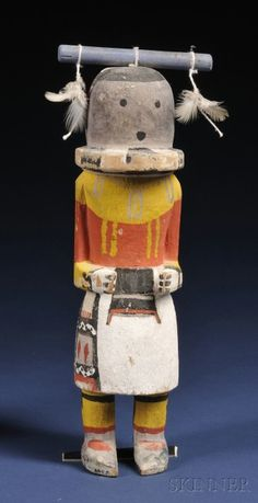 Southwest Polychrome Carved Wood Kachina, Hopi, c. second quarter 20th century, possibly a Hakto, with arms carved to the sides and painted detail, ht. 10 in.