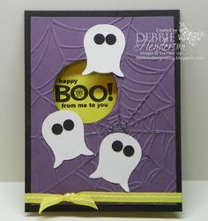 Stampin' Up! Owl Punch Art Ghosts  by Debbie Henderson