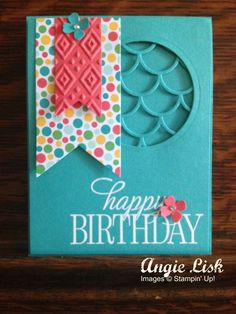 Stampin' Up! Happy Birthday, Everyone, Cherry on Top DSP, Boho Chic, Striped Scallop