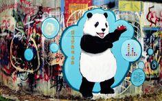 Panda.  Street art. 000
