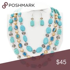 """Turquoise Handmade Beaded Necklace Set Rhodiumized / Turquoise Stone / Black Diamond Glass Crystal / Lead&nickel Compliant / Fish Hook (earrings) / Multi Row / Necklace & Earring Set •   LENGTH : 21 1/8"""" + EXT •   EARRING : 1 7/8"""" •   DROP : 2 1/2""""  •   TURQUOISE/SILVER R.E.A.L Jewelry Jewelry Necklaces"""