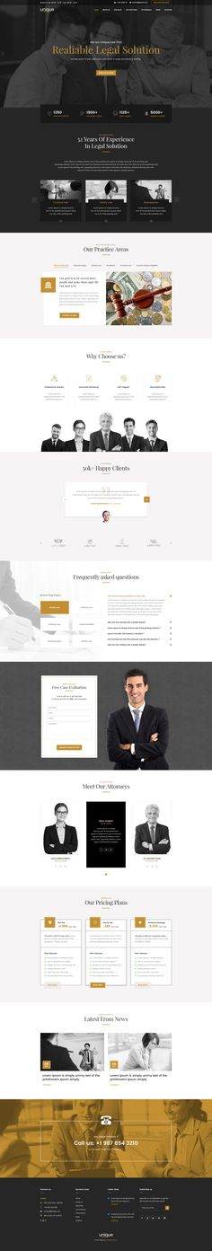 Unique  is clean, elegant and modern Law Firm landing page  PSD template. This is One Page PSD Template design for Law Advisers, Lawyer, Attorneys, Legal Officers, Legal Advisers, Legal offices,...
