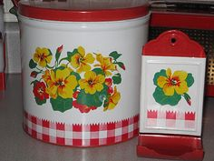 RED GINGHAM TINS (I have this whole set.....www.FourSistersInACottage.com)