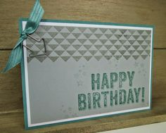 Stampin' Up UK Demonstrator Sarah-Jane Rae Cards and a Cuppa blog: Men's card using Birthday Surprise with Dotty Angles by Stampin' Up!
