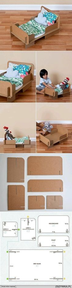 A DIY dolls bed template. Maybe coloured duct tape and washi tape to decorate