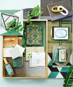 """Secret Garden  Interior designer Nina Farmer imagined a springlike teal palette and warm gold fittings and accessories. Sisal wallcovering adds texture, while geometric patterns add a contemporary edge.   """"Cubes"""" cement tile, Mosaic House."""