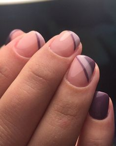 French manicure oblique on short nails. OCTOBER 1, 2017FRENCH, OVAL, PURPLE, SHORT