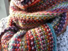 """""""Scrappy scarf"""" done - Les bricoles du grenier Couture, Knit Crochet, Weaving, Knitting, Fiber, Crafts, Wool, Scarves, Manualidades"""