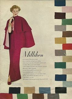 Millikend ad featuring Vogue patterns 6317 (cape), 6202 (skirt) and 5984 (blouse)