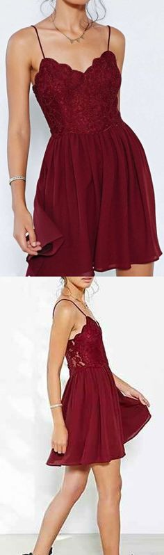 Chiffon Homecoming Dresses,Elegant Mini Evening Dresses,Wine Red Cocktail Dresses, Spaghetti Strap 2017 Popular Homecoming Dresses