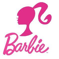 barbie classic silo head / modern ponytail logo and vintage mod name logo