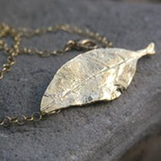 blue poppy handcrafted jewelry — 18K Gold Vermeil Leaf Necklace