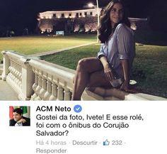 """""""Foi com ônibus do Corujão?"""", brinca ACM Neto em foto de Ivete Sangalo"""