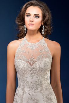 Sweetheart neckline with illusion overlay wedding dress Jasmine Couture style T162064