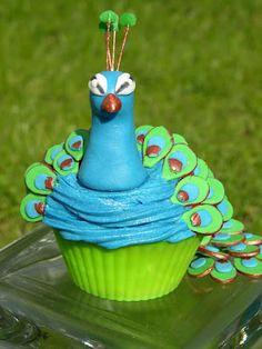 It's a peacock cupcake