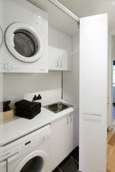 """Obtain excellent suggestions on """"laundry room stackable washer and dryer"""". They are actually readily available for you on our web site. Laundry Bathroom Combo, Laundry Cupboard, Garage Laundry, Laundry Room Doors, Laundry Room Organization, Hall Cupboard, Laundry Storage, Concealed Laundry, Hidden Laundry"""