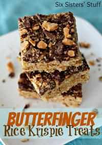 Six Sisters Butterfinger Rice Krispie Treats.  These can be made so fast and they are No Bake!! Perfect for summer!