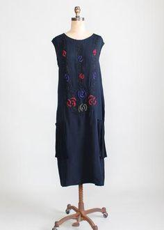 Vintage 1920s Navy Silk Beaded Flapper Dress