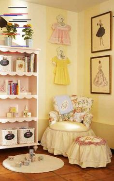 Play Room for Ali Landry's Daughter - Project Nursery Love this idea for a future little girl's room. Vintage barbie prints and vintage dresses for decor. So classy and sweet!