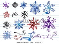 Doodled Snowflakes, original hand-drawn 12 snoflakes and ornaments. - stock vector