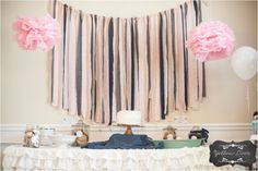 Easy Fabric Strip Backdrop and Ruffled Table Cloth made from 2 bedskirts! #tutorial #diy