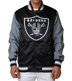 STARTER+Full+snap+closure+2+front+pockets+Ribbed+collar+and+cuffs+Embroidered+Raiders+logo+NFL+Oakland+Raiders+Light+jacket+NFL+patch+on+sleeve+Jimmy+Jazz+Exclusive