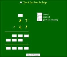 A Game of long multiplication - two digits by two digits number, an interactive worksheet