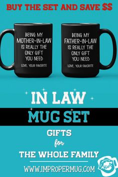 Mug Sets | Being My Father in Law and Mother in Law is Really the Only Gift You Need Mug Set – Couple Gift for In-Laws. Save $$$ Buy the Set! This is a listing for two mugs. They are packaged and shipped separately allowing you to have two gifts or gift them together! Design printed on both the front and back sides of the mug. 100% Dishwasher and Microwave safe. Collect this awesome mug set. #GiftForFatherInLaw #GiftForMotherInLaw #MugSet #MugSetForCouple #CoupleMugs #Mugs #impropermug