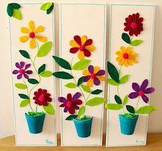 - Spring Crafts For Kids Spring Crafts For Kids, Summer Crafts, Diy Crafts For Kids, Arts And Crafts, Felt Flowers, Paper Flowers, Potted Flowers, Creative Workshop, Spring Art
