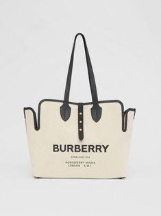 Burberry The Medium Soft Cotton Canvas Belt Bag In Black Leather Pouch, Leather Handle, Calf Leather, Burberry Gifts, Burberry Bags, Canvas Leather, Canvas Tote Bags, Cotton Canvas, Shoulder Bag