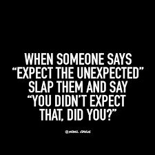"When someone says ""expect the unexpected "" slap them and say ""you didn't expect that,did you""?"