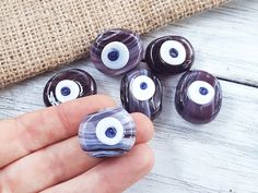 6 Mauve Purple Marble Evil Eye Nazar Glass Bead Traditional Turkish Handmade Protective Lucky Amulet 26 mm VALUE PACK - Turkish Glass Beads