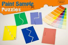 paint sample puzzles -- laminate and make magnets