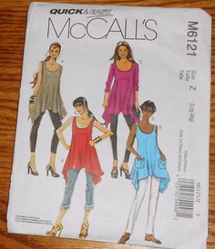 McCall's Sewing Pattern M6121 QUICK & EASY TUNIC BLOUSE L XL Large X-Large 6121 #McCalls