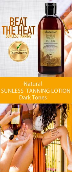 JNU / Sunless Tanning Lotion - Dark Tones / Natural Tanning Skin Helpers.