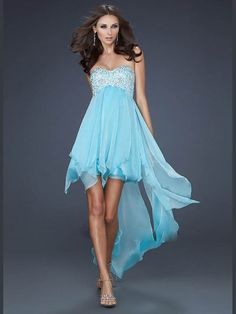 Romantic Blue Sweetheart High Low Chiffon A Line Cocktail Homecoming Dress Clf0016