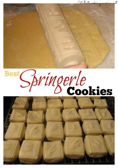 Springerle is a type of German cookie with an embossed design made by pressing a mold onto rolled dough and allowing the impression to dry before baking. This preserves the detail of the surface pattern. They are most commonly seen during the Christmas season.