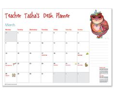 Personalised Owlivia Teacher Desk Calendar - order and personalise online at www.macaroon.co.za